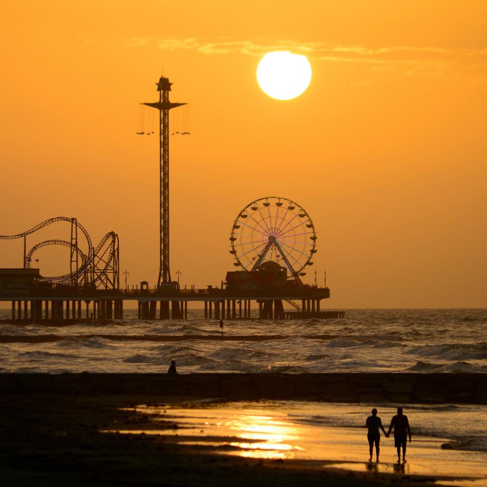 Galveston beach at sunset
