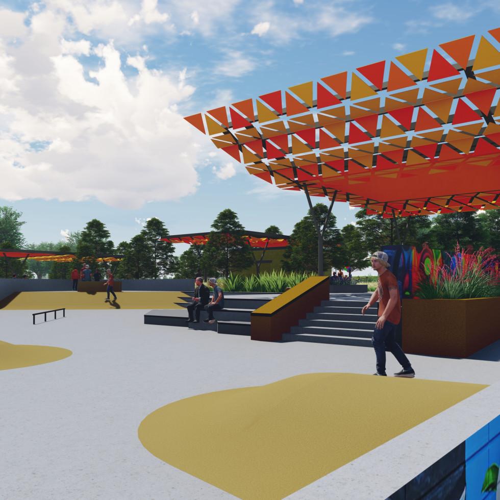 Southeast Greenway skate park rendering Austin