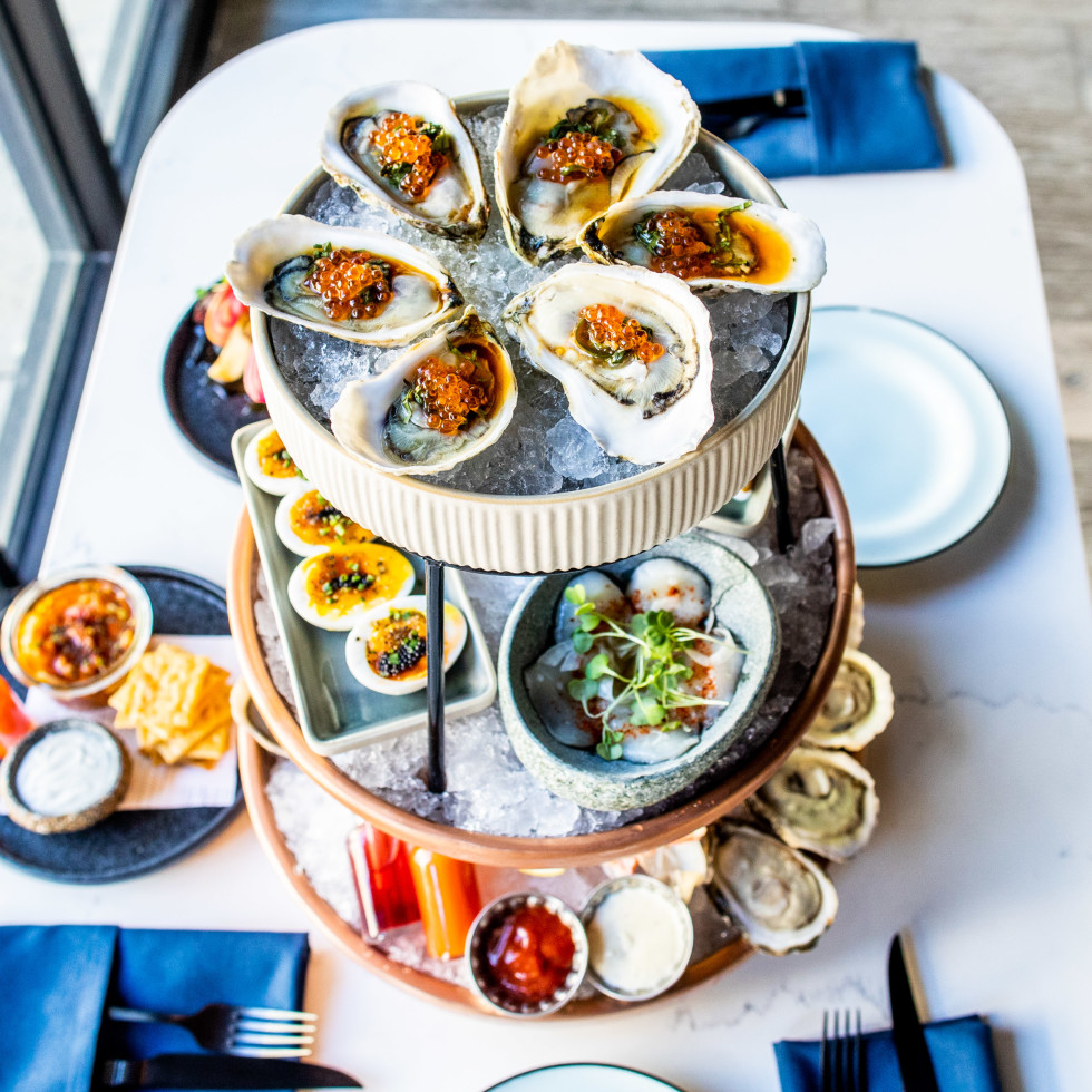 Plank seafood tower