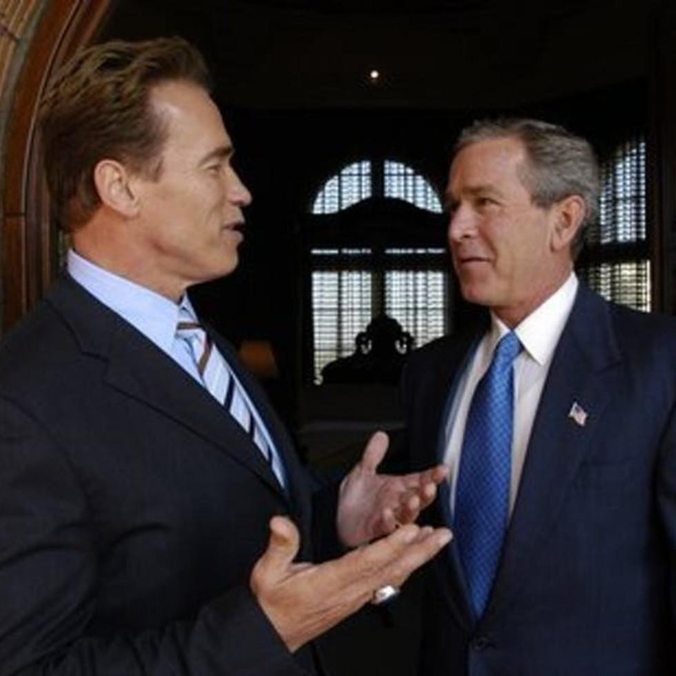 Arnold Schwarzenegger and George W. Bush