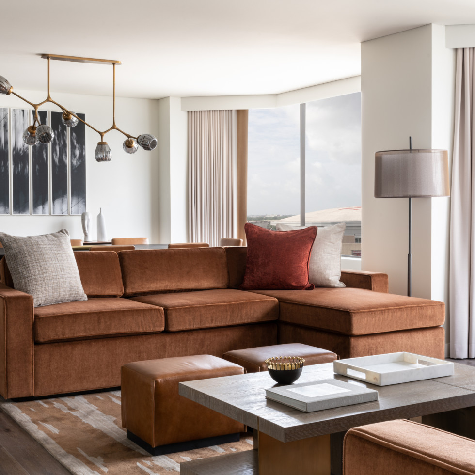 Four Seasons Houston new rooms suites Ambassador living room