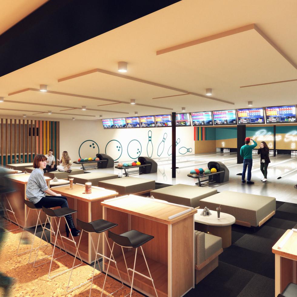 Palace Social rendering bowling lanes