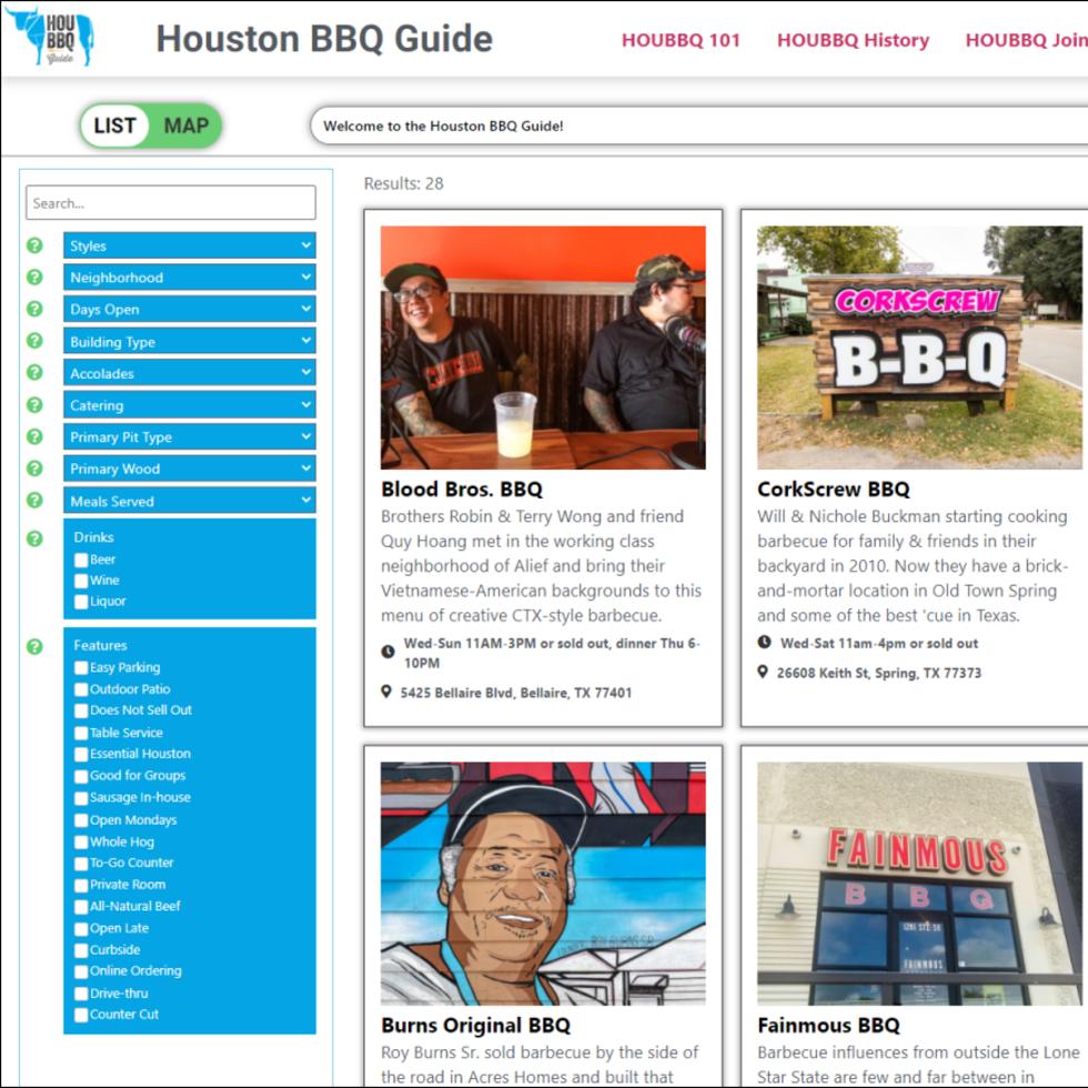 Houston BBQ Guide website screen shot