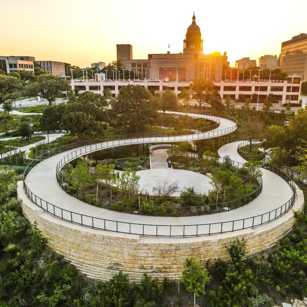 Waterloo Park downtown Austin aerial view