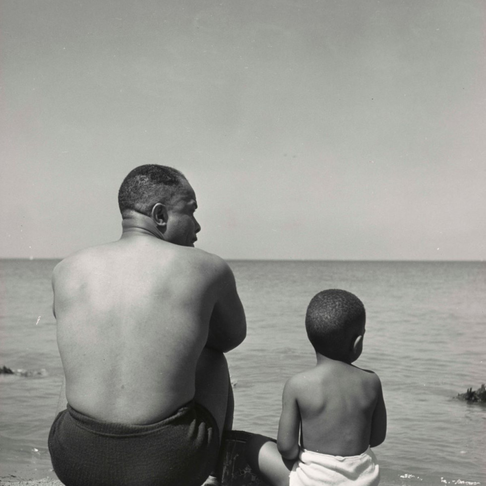 """Father and Son on the Beach, """"Men of Change,"""" African American Museum"""