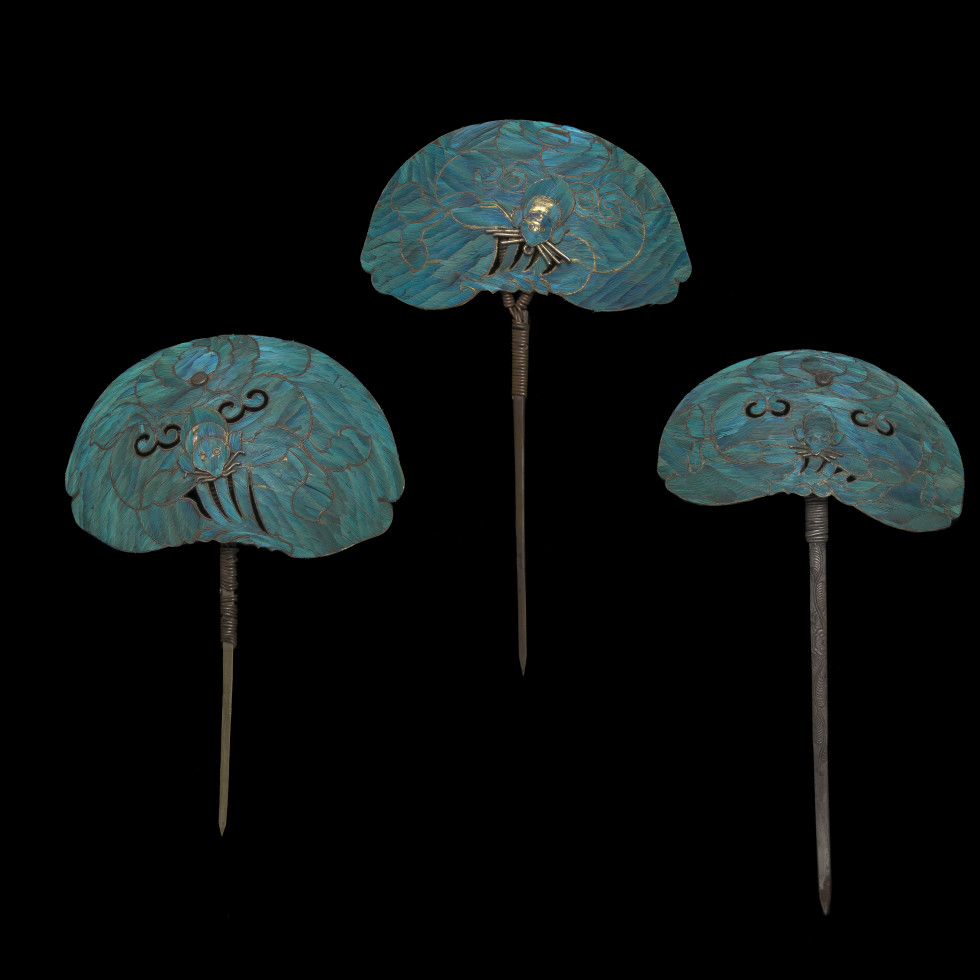 Hairpins, China, Qing dynasty (1644-1911)  Silver and kingfisher feather