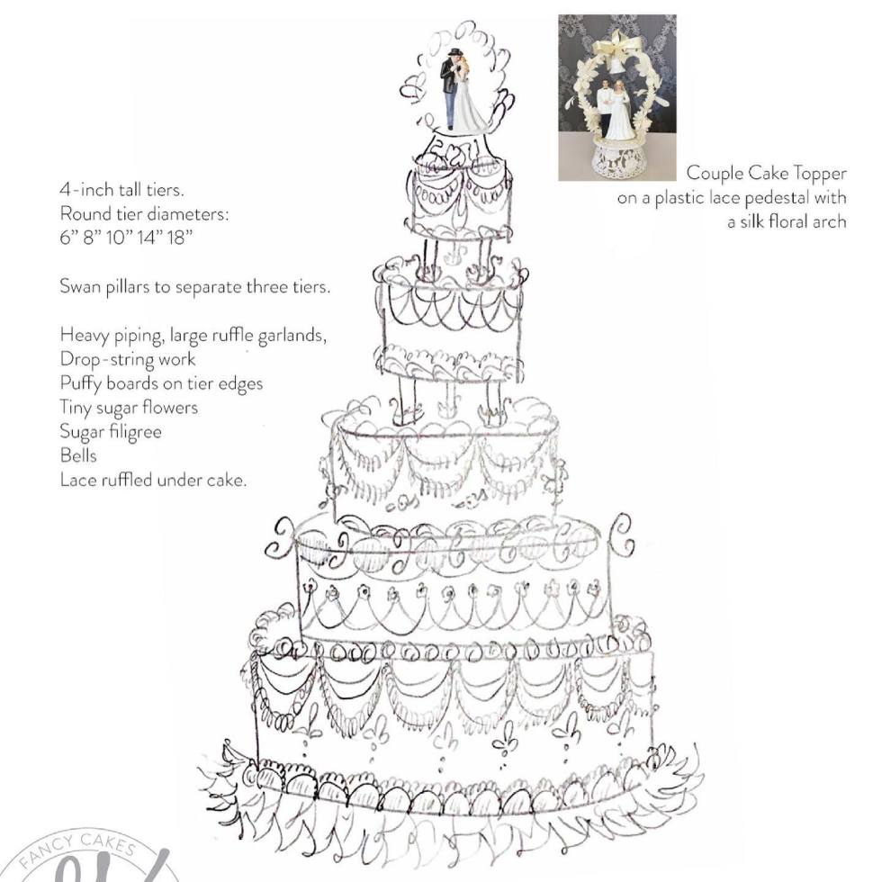 Fancy cakes by Lauren, Gwen Blake cake sketch