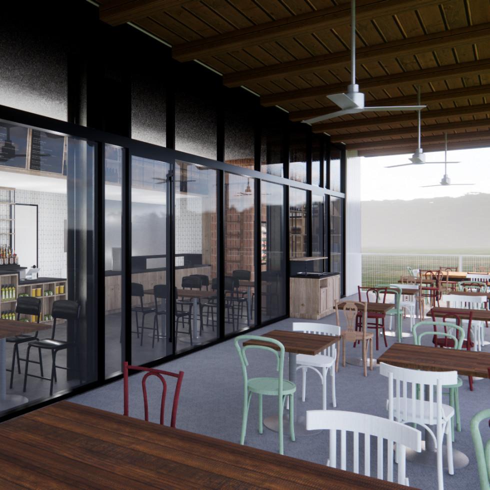 Cherry Block Craft Butcher and Kitchen patio rendering