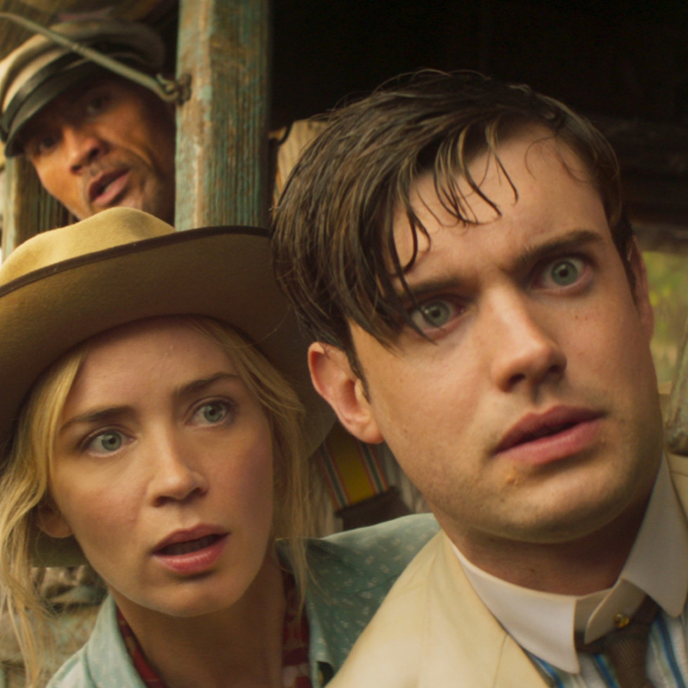 Dwayne Johnson, Emily Blunt, and Jack Whitehall in Jungle Cruise