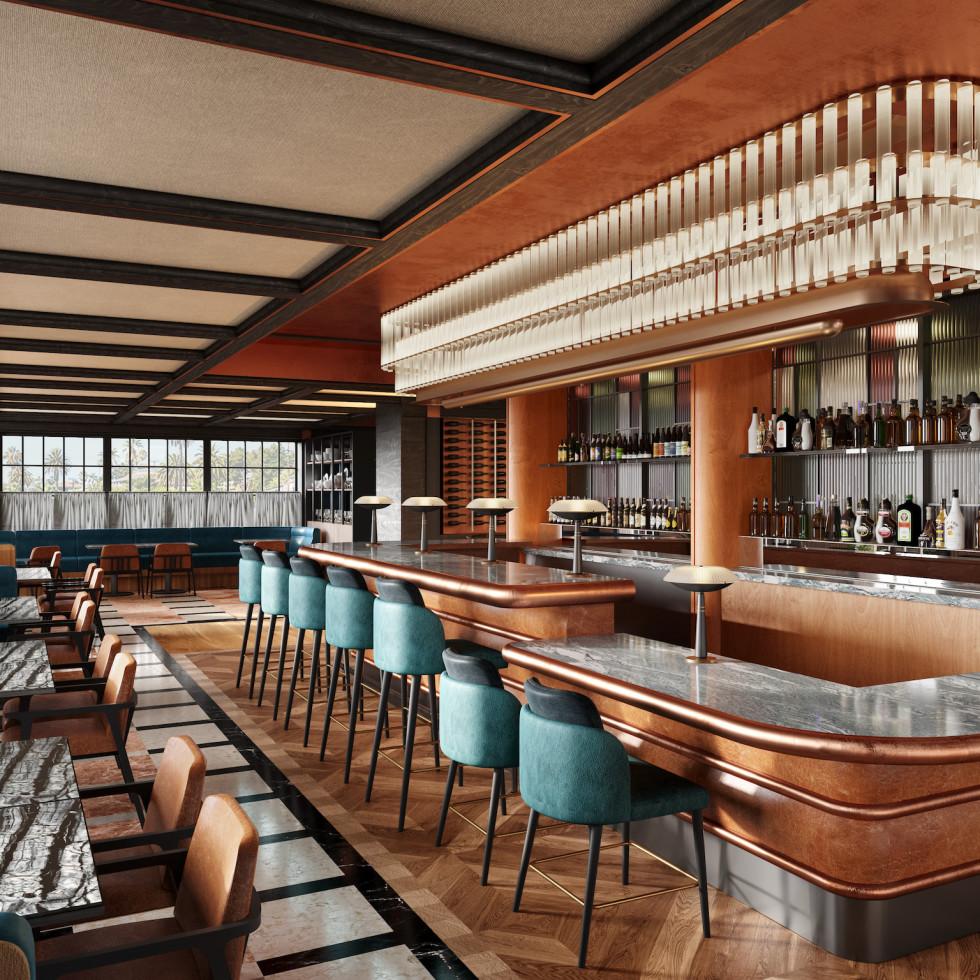 Andiron Steakhouse rendering bar