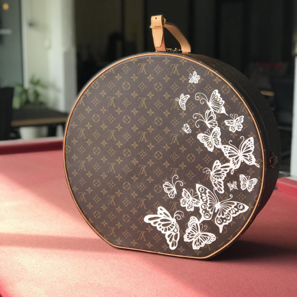 DTLAcustom Tara Martin painted Louis Vuitton hat box