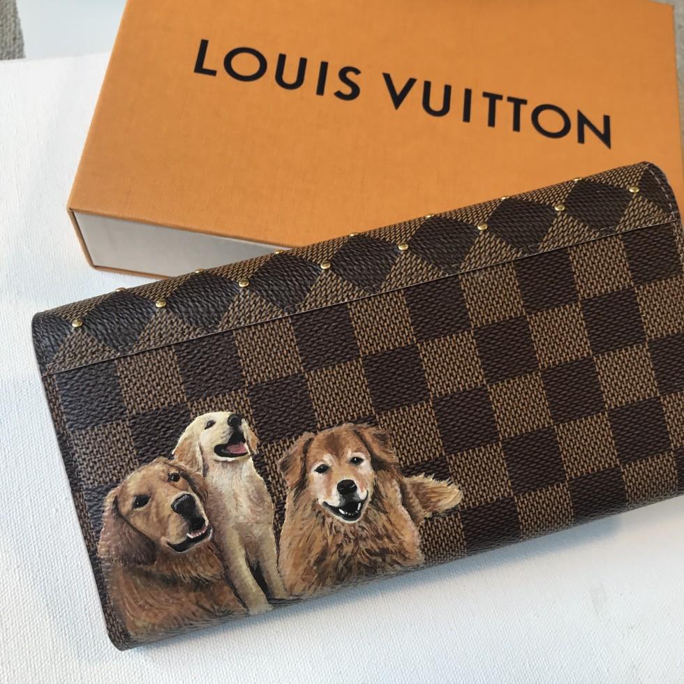 DTLAcustom Tara Martin dogs on Louis Vuitton wallet
