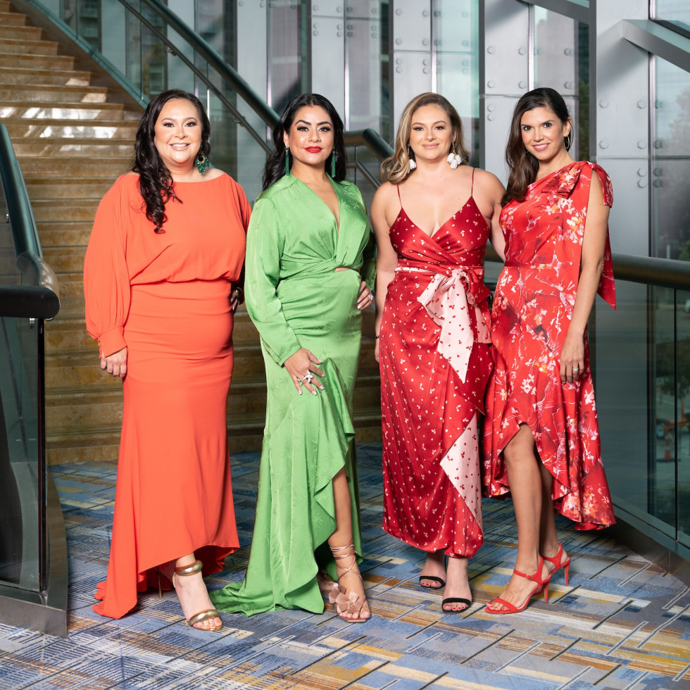 LWI Houston 2021 fashion show luncheon Vicki Luna, Elia Gabbanelli, Maritza Gonzales, Gloria Bounds