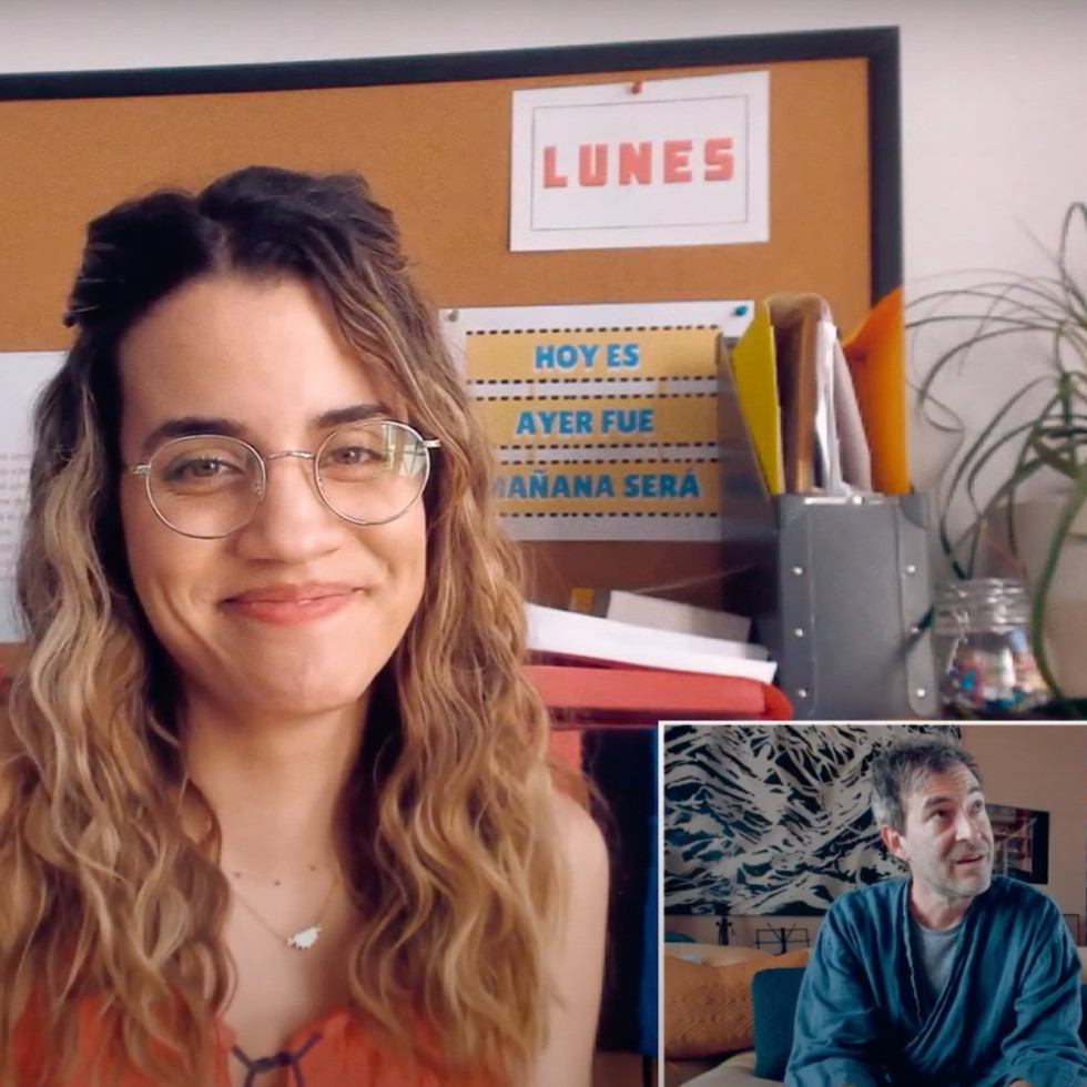 Natalie Morales and Mark Duplass in Language Lessons