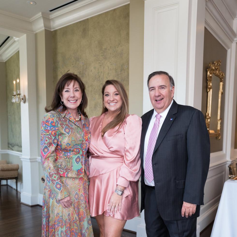 Tickled Pink Luncheon 2021 Elizabeth Stein, Laura Stein, Dan D'Armond