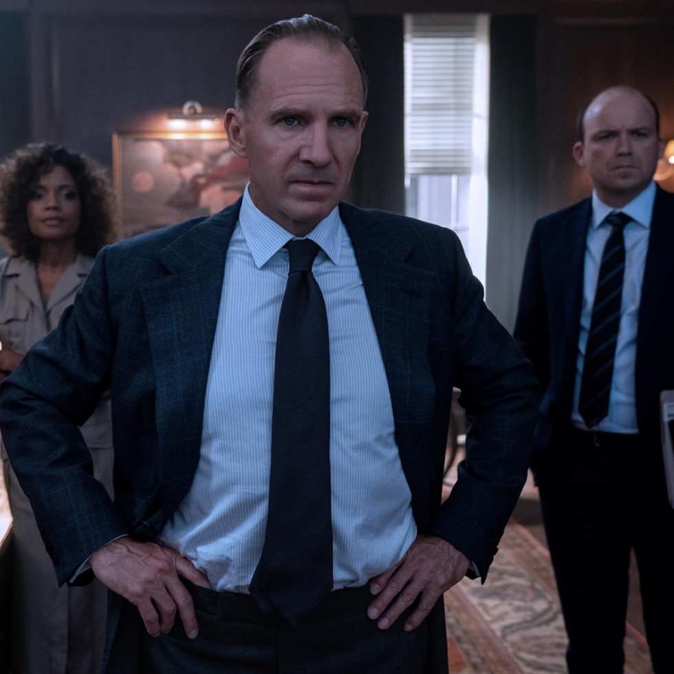 Ralph Fiennes, Naomie Harris, and Rory Kinnear in No Time to Die
