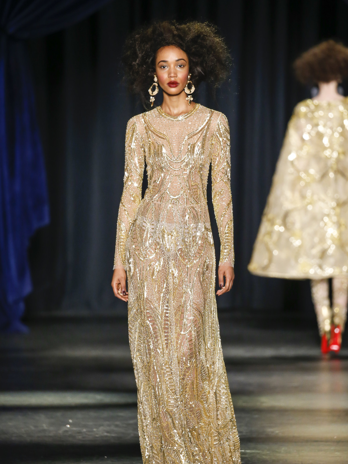 2005a83ecc8 Naeem Khan fall 2016 collection Look 49. Naeem Khan gold embroidered long-sleeve  gown ...