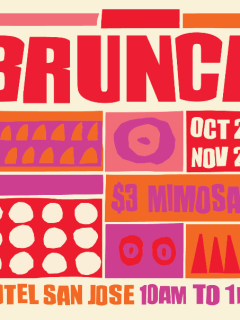 flyer for brunch at Hotel San Jose courtyard