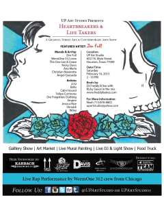 "Art opening reception: ""Heartbreakers and Life Takers"""