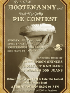 Koop community radio red hot hootenanny and best by golly pie contest