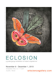 poster for art exhibit Eclosion with butterfly at Art.Science.Gallery
