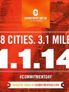 flyer for Austin Commitment Day 5k run and walk for New Year's Day 2014