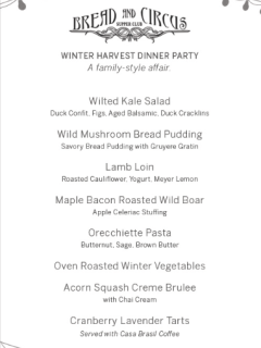 menu for Bread and Circus supper club Winter Harvest Dinner Party