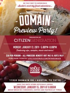 flyer for Whole Foods Domain preview party