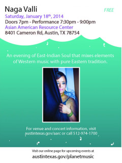 flyer for Naga Valli performance at Asian American Resource Center