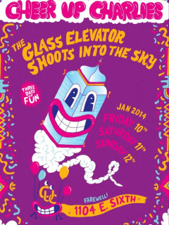 poster for Cheer Up Charlie's farewell party Glass Elevator shoots into the sky