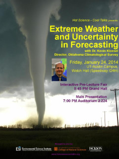 poster for Hot Science Cool Talks lecture about Extreme Weather and Uncertainty in Forecasting