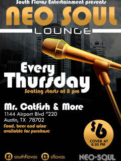 poster for the South Flavas open mic Neo-Soul Lounge
