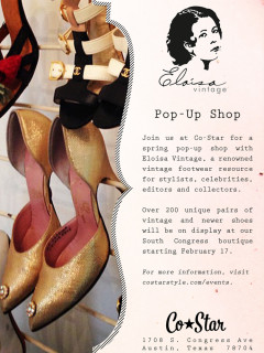 flyer for Eloisa Vintage Pop Up Shop at Co-Star