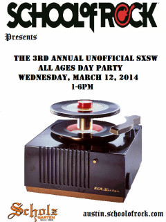 poster for School of Rock Austin 3rd annual unofficial sxsw party