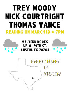 poster for Everything is bigger book reading at Malvern