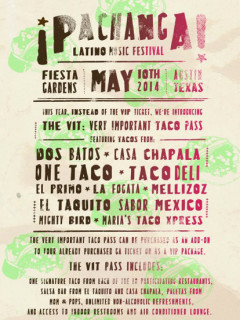 poster for Pachanga Music Festival of Latino music and culture at Fiesta Gardens