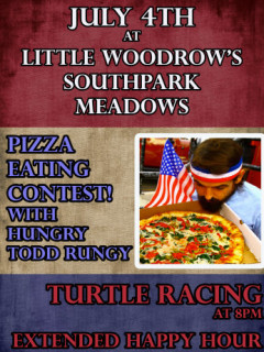 poster for Hungry Todd Rungy pizza eating contest at Little Woodrow's austin