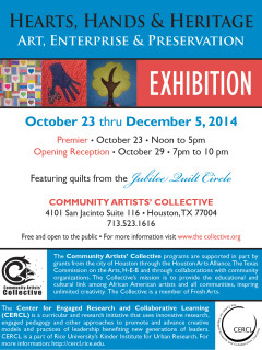"Community Artists' Collective art opening reception: ""Hearts, Hands and Heritage: Art, Enterprise & Preservation"""