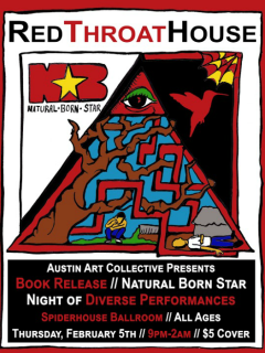 Red Throat House_Lakeem Wilson_Natural Born Star book release party_poster CROPPED_2015