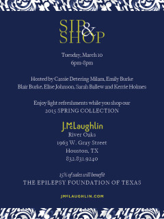 "Texas Young Professionals Fighting Epilepsy hosts ""Sip, Shop and Support"" Shopping Party"