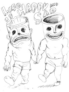 News_Life is Happy and Sad_Daniel Johnston_drawing