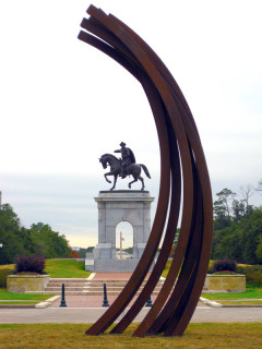 News_Bernar Venet_Vertical art_Hermann Park