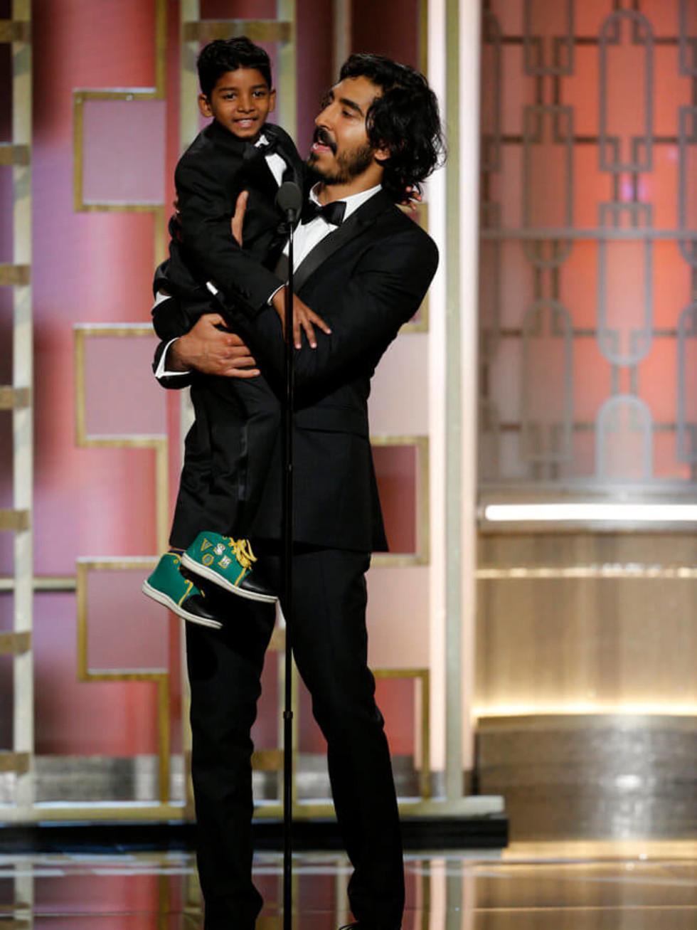 Sunny Pawar, Dev Patel at Golden Globes 2017