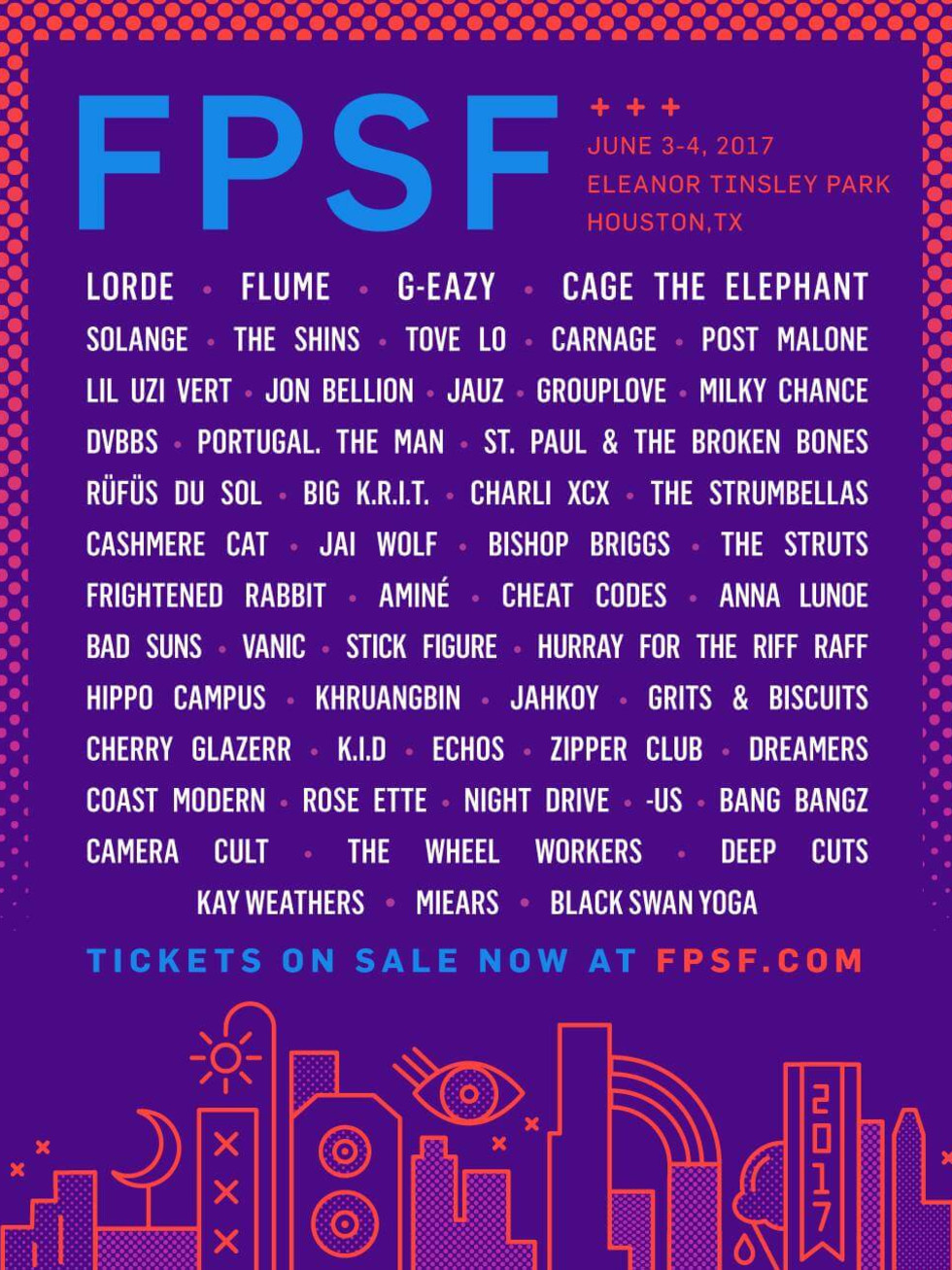 Houston, FPSF 2017 music lineup, Feb 2017, flyer