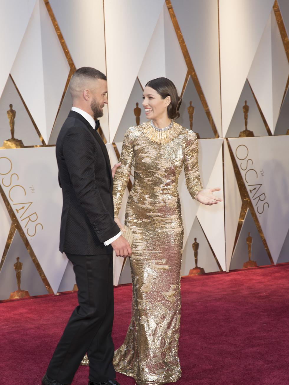 Justin Timberlake and Jessica Biel at 2017 Oscars