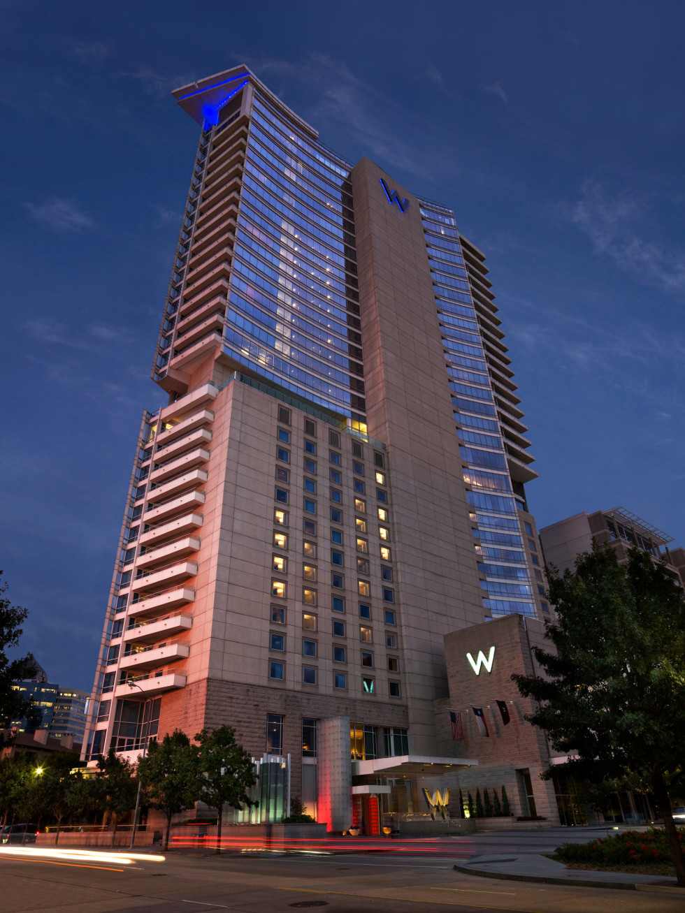 w dallas, victory exterior hotel at night