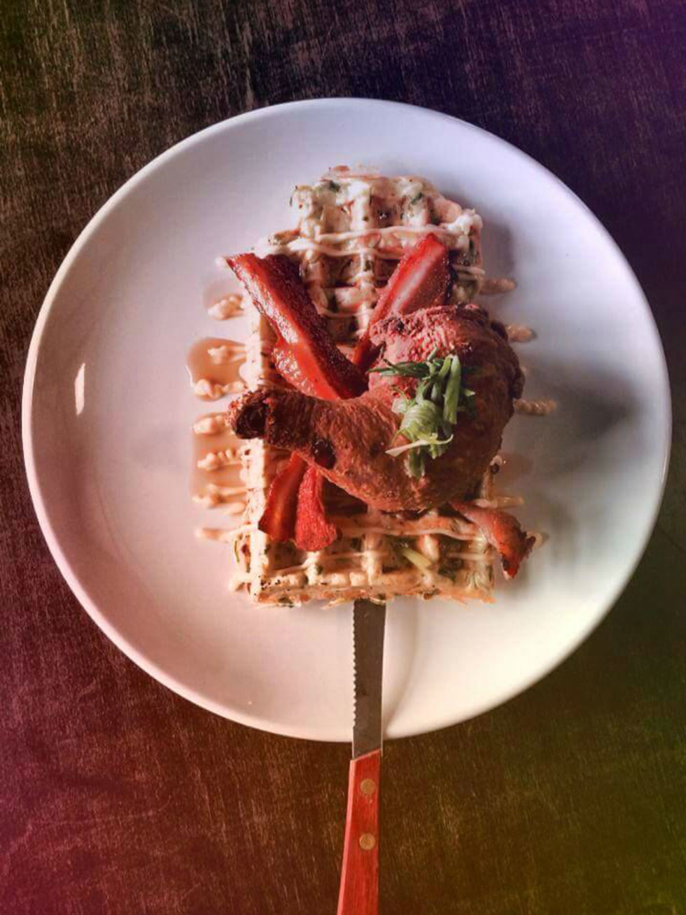 The Hoppy Monk chicken and waffles