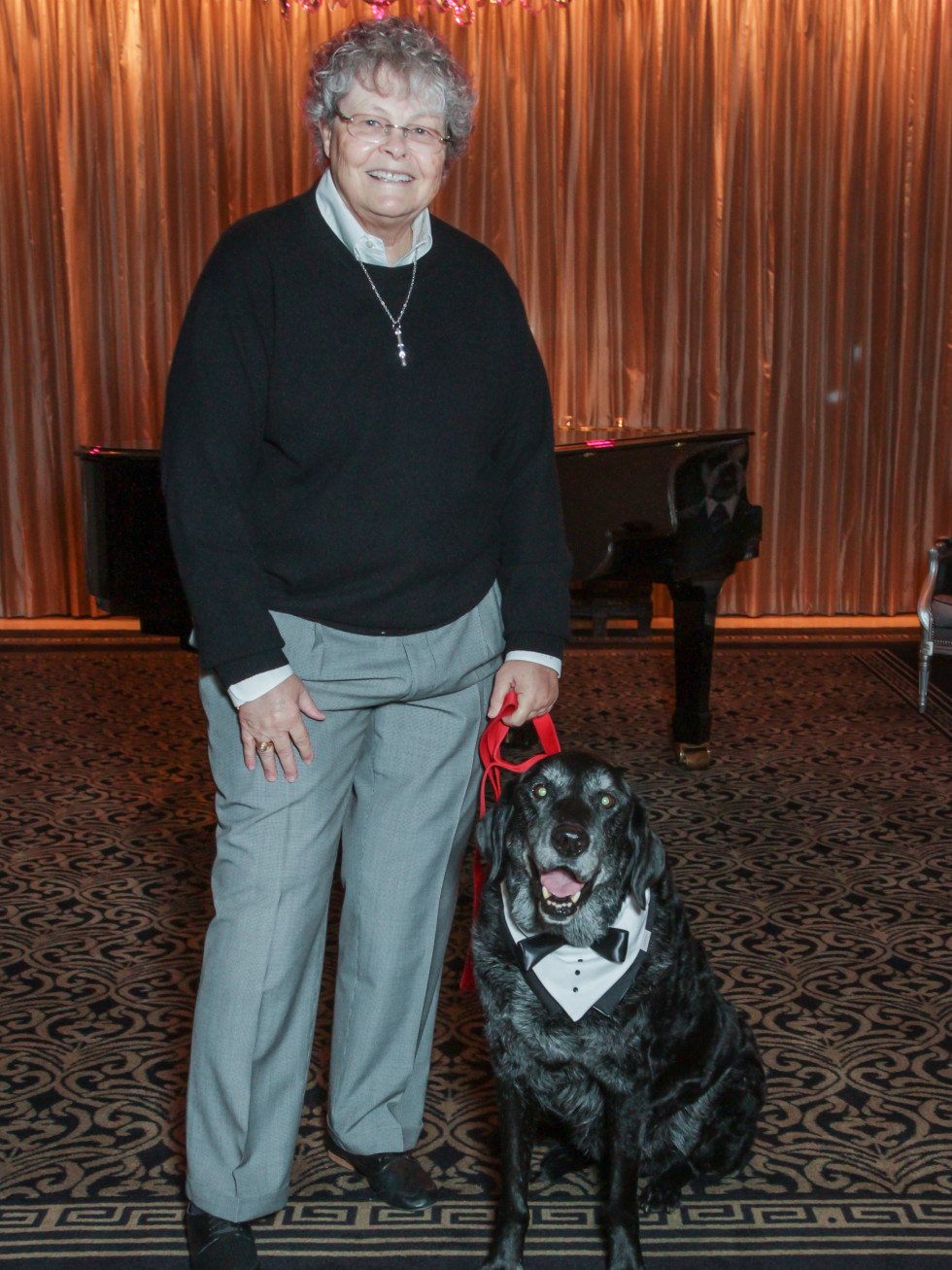 Doggie fashion show winner Pat Wild and Willie at Interfaith Ministries brunch