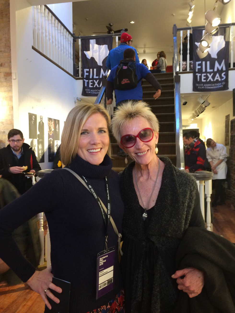 Jessica Christopherson, Deborah Grotfeldt at Film Texas reception at Sundance Film Festival