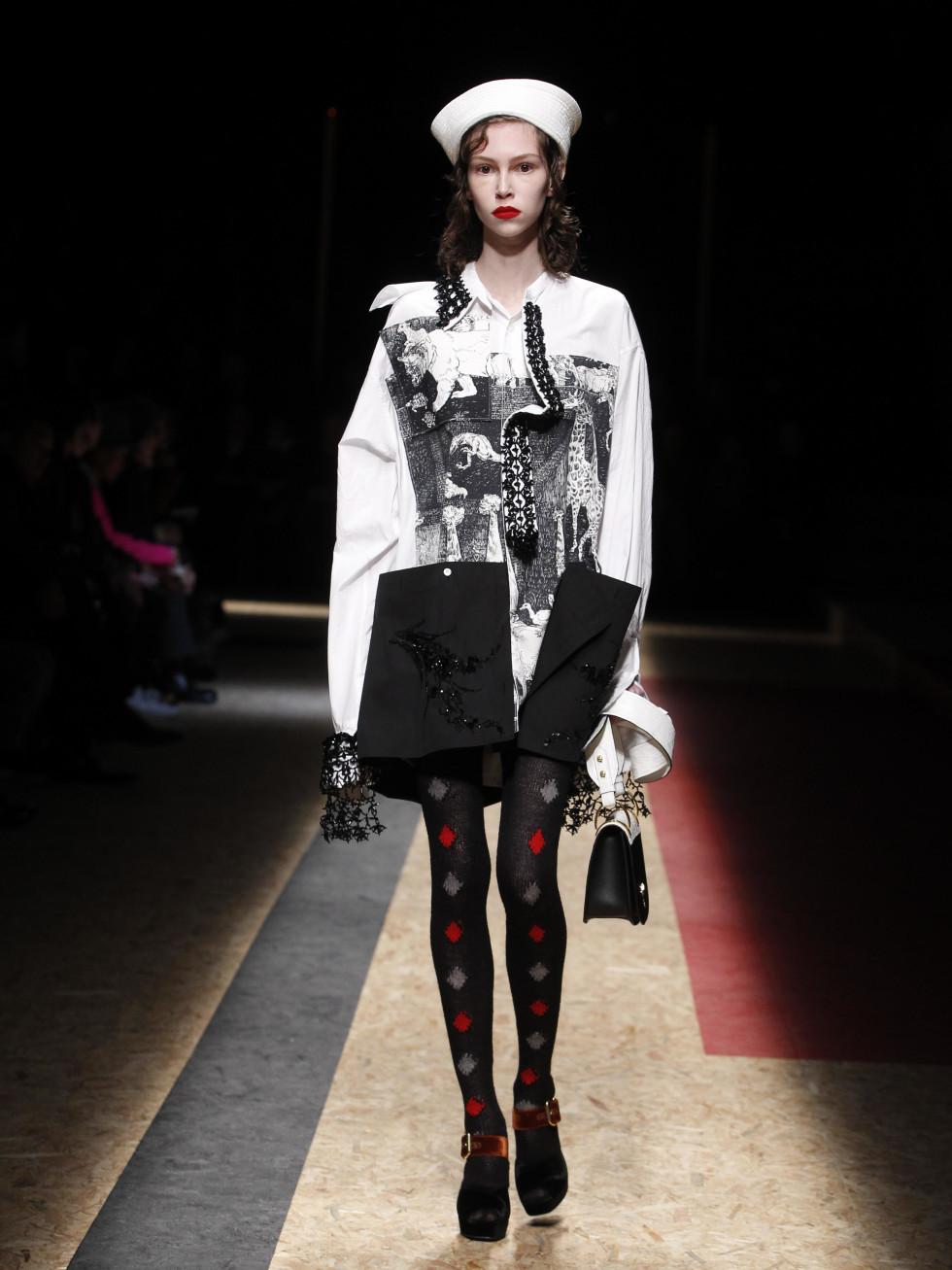 Prada menswear show with women's look in Milan January 2016
